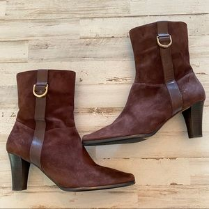 ETIENNE AIGNER |8.5| Leather Suede Zipper Bootie